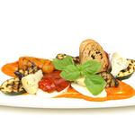 Buffalo mozzarella and grilled mediterranean vegetable salad