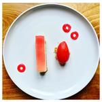 Rhubarb Cheesecake with Raspberry Sorbet and Rhubarb Hoops