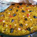 paella for a big party in a field