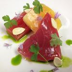 Tuna Crudo, Watermelon, Yellow tomato, Fresh Almonds