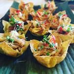 Prawn Pad Thai on crispy wonton