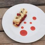 Raspberry millefeuille with yuzu cream