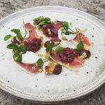 Duck Ham - Marinated Beetroot - Beetroot Ketchup - Goats Curd - Walnut Dressing - Watercress