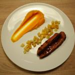 Magret de canard du Sud-Ouest, mousseline de patates douces et poêlée de légumes de saison
