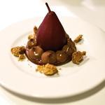 Tartelette chocolat, poire pochée et crumble cannelle