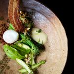 English asparagus, poached pheasant egg, bacon and shoots