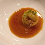 Scallop & crab tortellini, brown butter shellfish emulsion