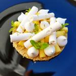 Tarte citron cylindrique, biscuit shortbread, crémeux citron/menthe