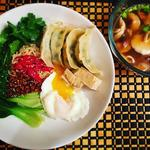 Prawn dumpling, Udon served with Shitake Mushroom