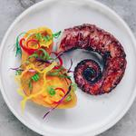 Poulpe grillée, patate douce, vinaigrette à la coriandre et aux fruits de la passion/ Octopus sousvide and grilled with sweet potato and passion fruit vinaigrette