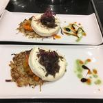 Celeriac roesti, vegetable salpicon, grainated goat's cheese, caramelised red onion