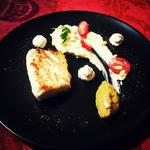 Merlu, purée de céléri , caviar d'aubergine et ricotta, beurre blanc