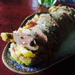 Foie gras au saké et poivre du timut, mi-cuit à la vapeur.