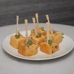 Cubes de polenta, parmesan, chorizo