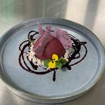 Blackberry Mousse, blackberry & Juniper meringue shards, lemon ash