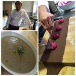 porcini mushroom soup, chocolate ravioli with beetroot filling.