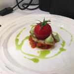 Sicilian Donkey tricolore salad: Buffalo mozzarella mousse in a tomato gel with sourdough toast, basil oil and avocado mousse