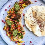 Middle-eastern plate - falafel, baba ganoush, lavash flatbread