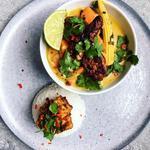 Vietnamese coconut-turmeric curry, crispy tofu, jasmin rice, tempeh goreng