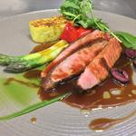 lamb or Venison / asparagus / Polenta / Olive Jus