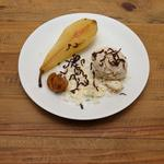 Cardamom Poached Pears with Chestnut Ice Cream, Salted Chocolate Curls and Marron Glace