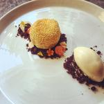 sesame balls, chocolate soil, palm sugar ice cream