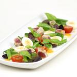 Rare roast blue fin tuna salad Nicoise with quail's eggs