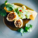 Duck spring rolls, plum sauce