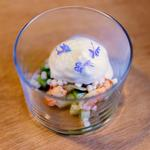 Espuma coco-écrevisses-concombre