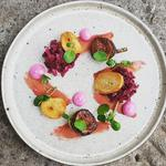 Home Cured Duck Ham - Pickled Beetroot and Red Cabbage - Beetroot Mayo - Duck Fat Croutons - Balsamic Roasted Figs
