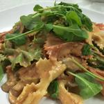 hand made 3 colour farfalle, porcini mushrooms and rocket