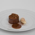 Dark chocolate delice, salted caramel, coffee creme freiche, hazlenuts