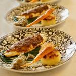Filet de Bar en croute de chorizo, légumes du marché en plusieurs façons