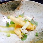 Tempura dab, cucumber & apple puree, fennel, sorrel