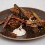Lamb chop and loin, sumak roasted carrots, saffron chick pea stew, yoghurt dressing