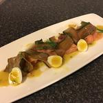Severn & Wye Valley Smoked Salmon, pickled cucumber, quails eggs, mustard dressing