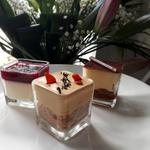 Trio of desserts...tiramisu, panna cotta, salted caramel cheesecake.
