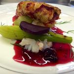 Lobster tail, pickled beets, blackberry jelly, braised fennel