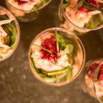 Rillettes de saumon, légumes du soleil, confiture de betterave