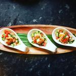 Scallop and prawn on watermelon cucumber salsa