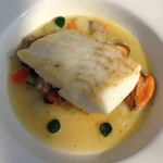 cod in musle, clam and vegetable  soup
