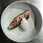 Maquereau au chalumeau et crème algues