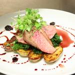 Duck breast served with sauteed potatoes,cavolo nero and cranberry,beer jus