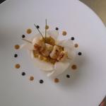 Risotto de crustacés, brochette de pétoncles