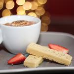 Cappuccino Brulee, handmade shortbread