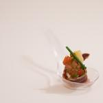 Cuillère dégustation magret canard crème aux herbes et caviar de tomate coriandre
