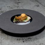 My crispy oyster with pickled cucumber and kimchi mayo