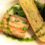 Chicken Terrine Fresh Leaves, Pesto Oil