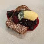 Brioche French toast, berry compote, Roddas clotted cream