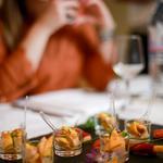 Pour l'apéritif foie gras mariné asperge blanche jambon cru